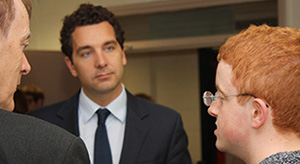 Edward Timpson on a visit to Hereward College, Coventry.