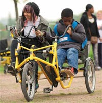 Side by side tandems offer a sociable ride. Photo: Wheels for Wellbeing/Richard Sarson.