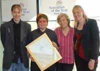 Wendy receiving fourth place in Australian of the Year awards, with son Tim, daughter Katy (far right) and partner Beatrice.