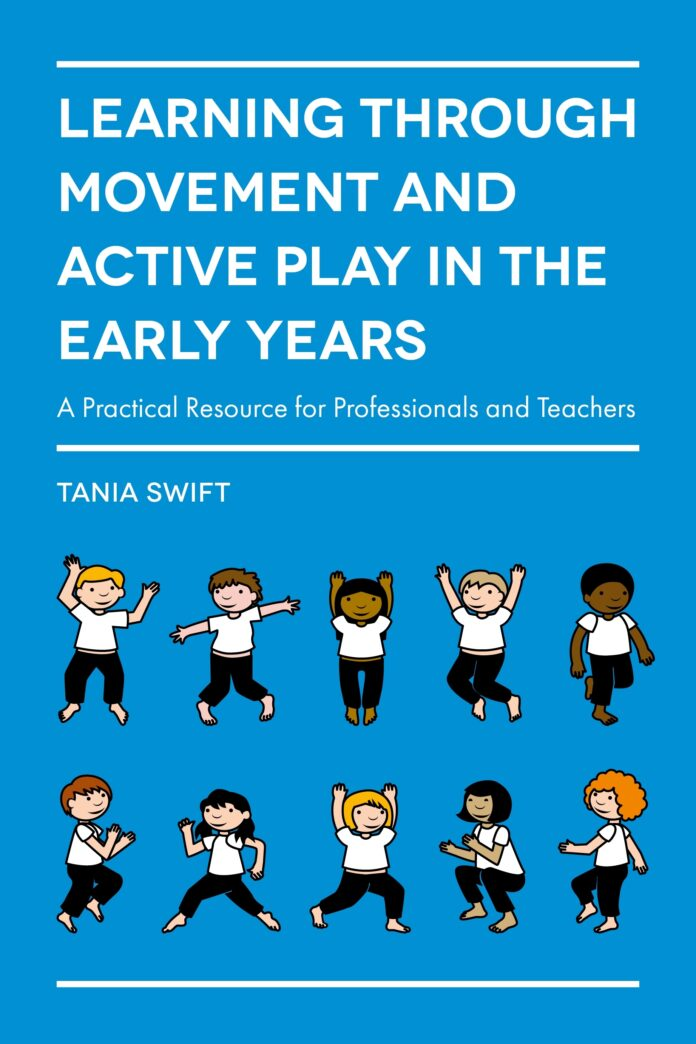 the cover of 'learning through movement and active play in the early years', featuring cartoons of excercising children