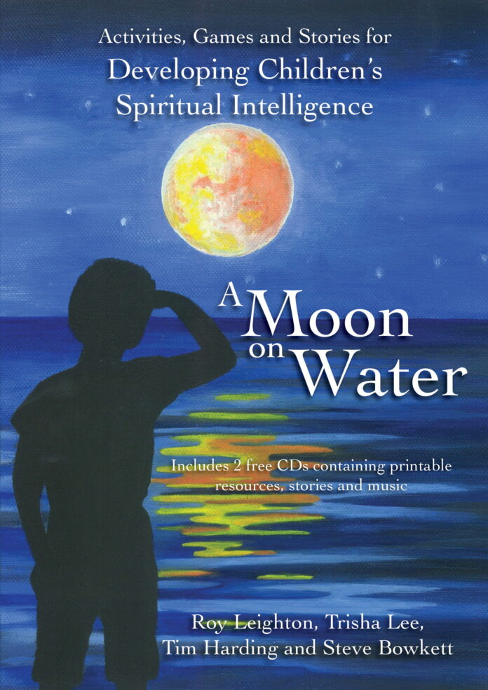 The cover of the book, with a moon reflected in some water and a child looking at the moon