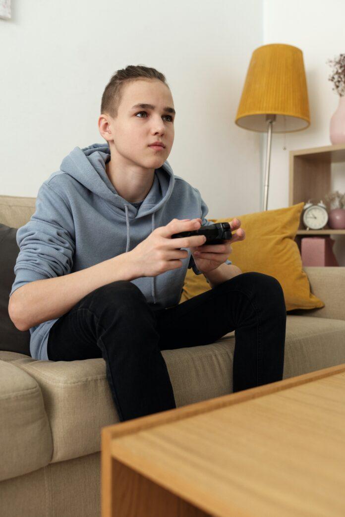 A boy gaming