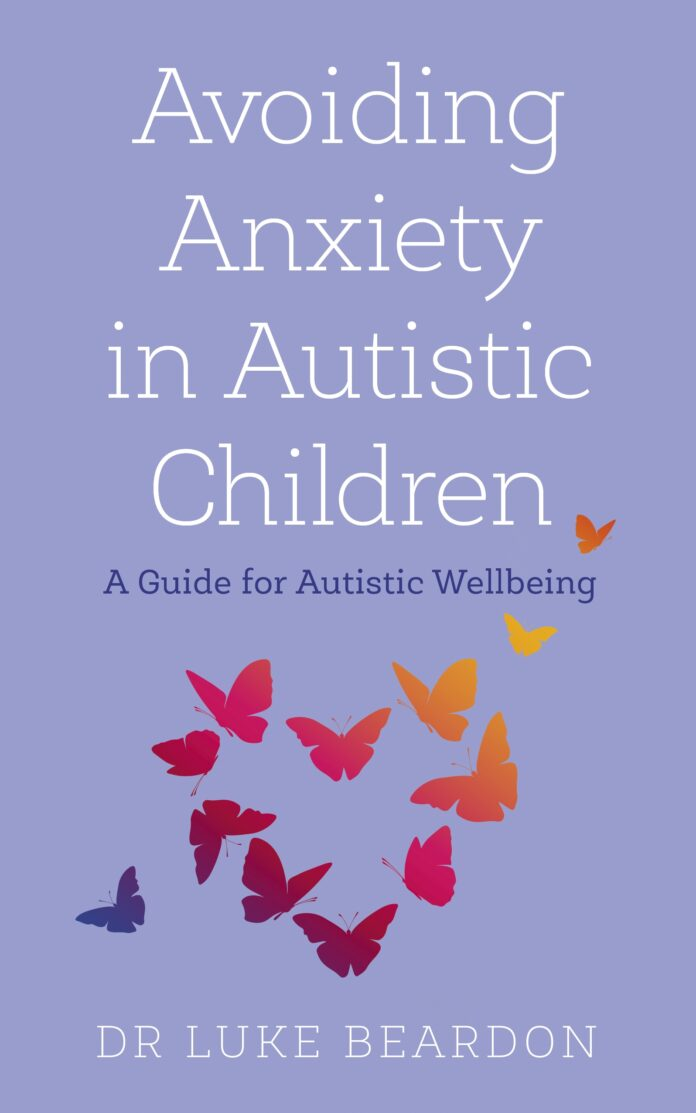 The cover of 'avoiding anxiety in Autistic children, featuring a heart made up of red and orange butterflies