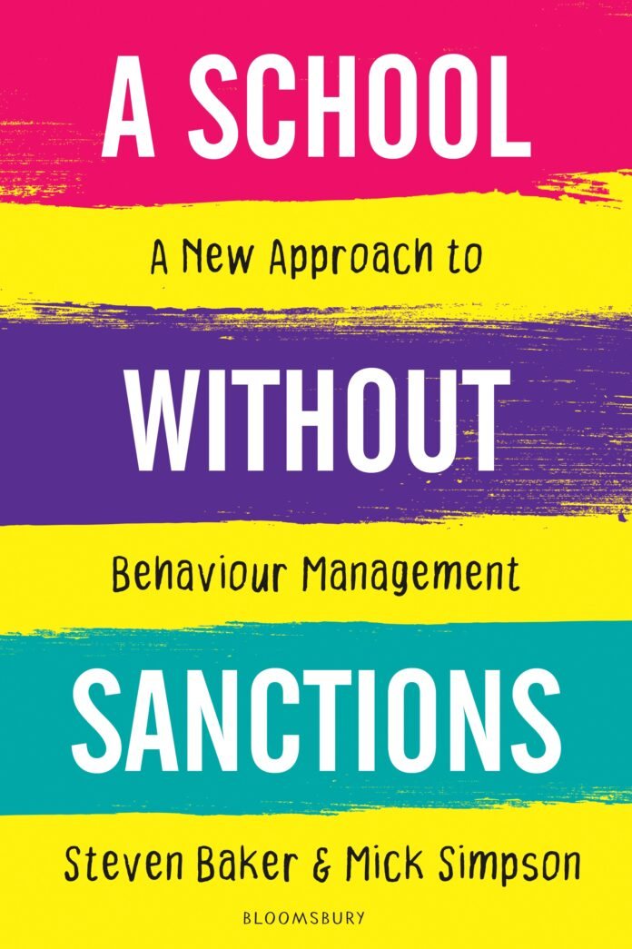 The cover of 'A school without sanctions', with red, purple, green and yellow stripes.